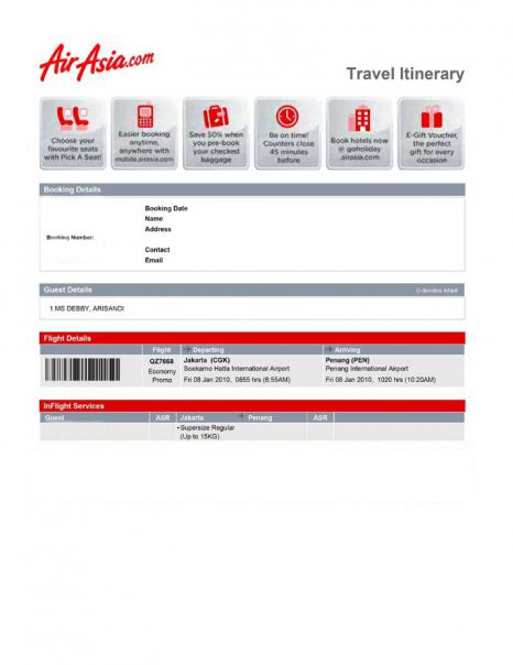E-ticket AirAsia