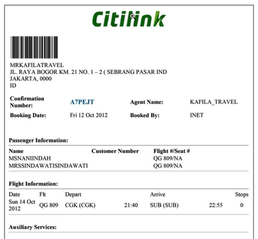 E-ticket Citilink