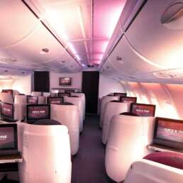 Business class cabin a380 qatar airways