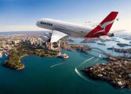 Qantas airplane after take off in Sydney, Australia